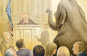 Elephant in courtroom